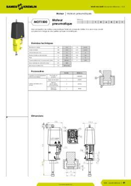 Moteur pneumatique REXSON 1500 - Fiche caractéristiques détaillées