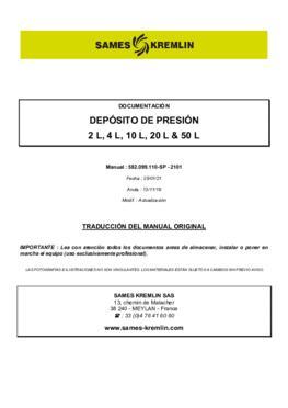 Depósito de presión | Manual de instrucciones
