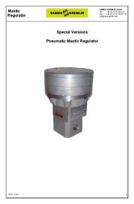 RegMaster Pneumatic Mastic Regulator - special versions | Technical manual