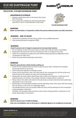 SAMES KREMLIN 01D140 & 04D140 Pumps Preventative Maintenance Sheet