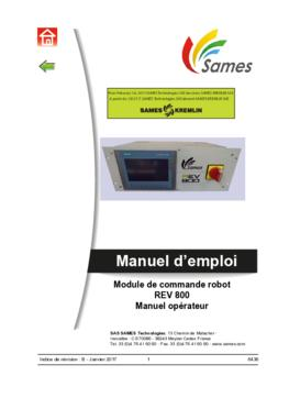 REV 800 | Manuel opérateur