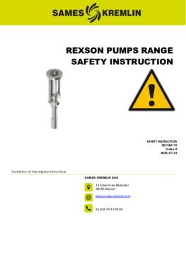 REXSON Pumps / General Safety Instructions