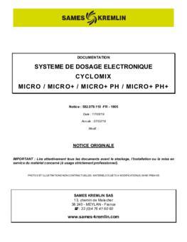 Cyclomix Micro / Micro+ / Micro+ PH / Micro+ PH+ | Manuel d'utilisation