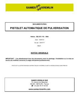 Pistolet automatique de pulvérisation | Manuel d'utilisation
