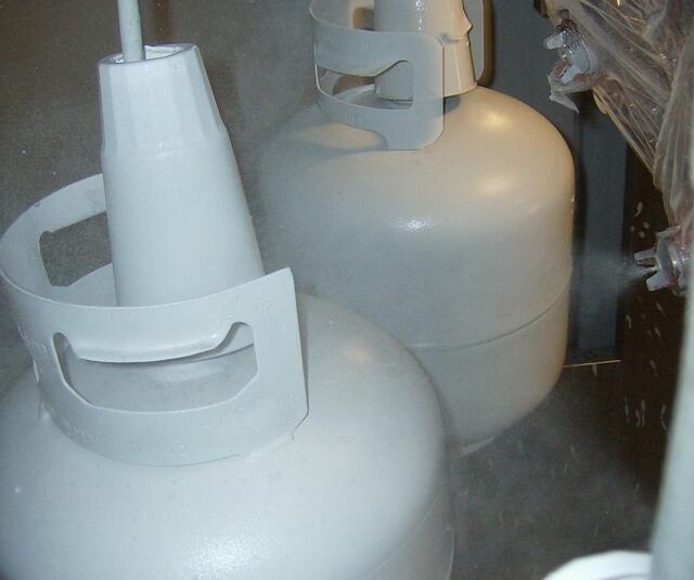 Automatic spraygun on gaz bottle