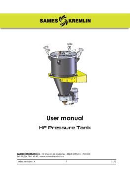 HF Pressure Tank User manual