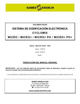 Cyclomix Micro / Micro+ / Micro+ PH / Micro+ PH+ / Manual de instrucciones
